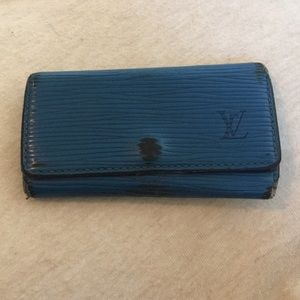 Louis Vuitton Blue Epi Leather 4-Key Holder